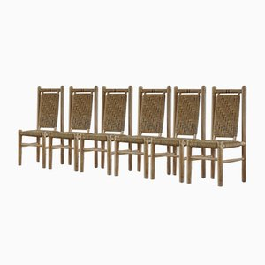Mid-Century French Naturalist Woven Chairs in Solid Elm by Pierre Chapo, 1960s, Set of 6