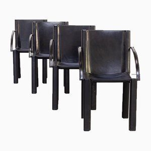 Black Leather Dining Chairs by Carlo Bartoli for Matteo Grassi, 1970s, Set of 4