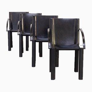 Schwarze Leder Esszimmerstühle von Carlo Bartoli für Matteo Grassi, 1970er, 4er Set