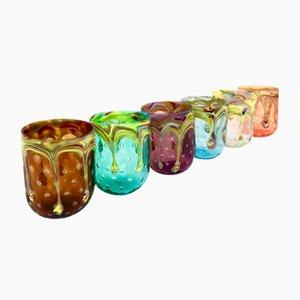 Vintage Murano Flirt Glasses by Vestidello Luca for Vetrati, 2004, Set of 6