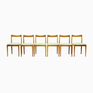 German Mid-Century Modern Cherry Wood Chairs from Luebke, 1960, Set of 6