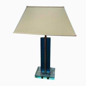 Lampe de Bureau en Cristal Bleu & Laiton par Pietro Chiesa pour Fontana Arte, 1950s
