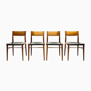 Mid-Century German Teak & Leather Dining Chairs by Georg Leowald for Wilkhahn, 1950, Set of 4