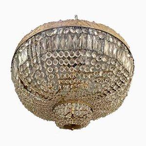 Große Deckenlampe aus Bronze & Kristallglas, 1960er