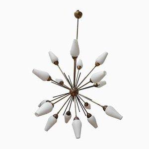 Mid-Century Italian Opaline Glass and Brass Sputnik Chandelier