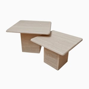 Mid-Century Travertine Side Tables or Nesting Tables, Set of 2