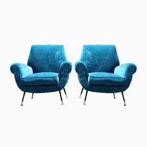 Blue Velvet Armchairs by Gigi Radice for Minotti, 1950s, Set of 2