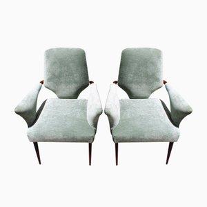 Olive Green Velvet Chairs from Melchiorre Bega, Set of 2