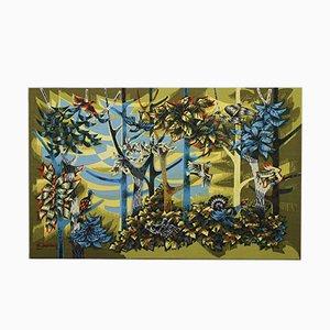 Handbedruckter Wandteppich aus Wolle von R. Debiève