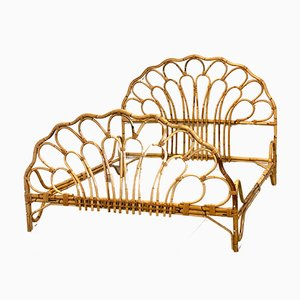 Bamboo and Wicker Bed, 1970s
