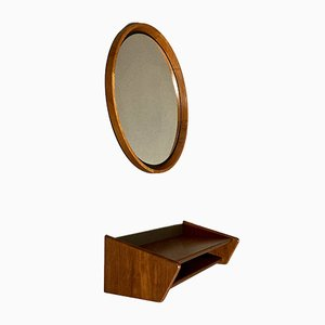 Scandinavian Mirror and Console, 1950s, Set of 2