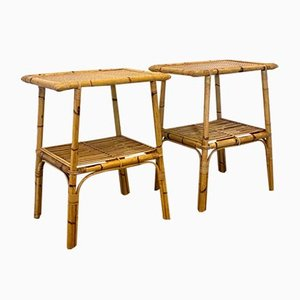 Bamboo and Wicker Side Tables, 1970s, Set of 2
