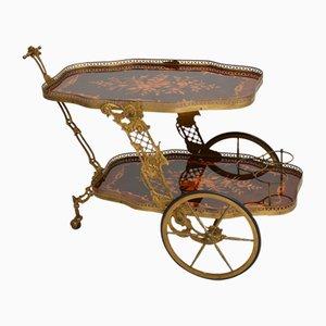 Chariot à Boissons Vintage en Laiton et Marqueterie, Italie