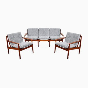 Mid-Century Danish Sofa and Armchairs by Arne Vodder for Glostrup, 1960s, Set of 3