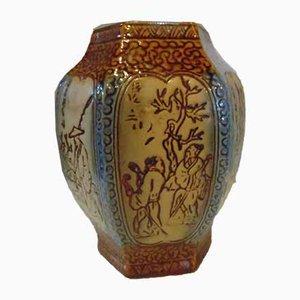 Vase Art Déco en Céramique avec Motifs Japonais