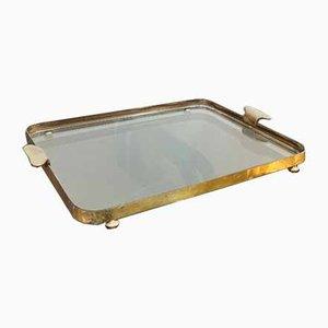 Mid-Century Italian Brass & Glass Tray, 1950s