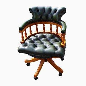 Walnut Swivel Office Chair in Green Leather, 1960s