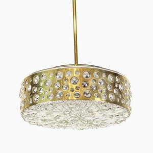 Pendant Lamp in Aged Brass & Glass from Limburg, Germany, 1960s