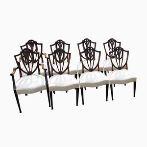 Mahogany Wheatsheaf Dining Chairs with Pop-Out Seats, 1960s, Set of 8