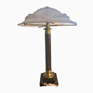 French Art Deco Rosewood, Glass & Brass Table Lamp