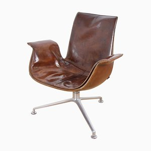 Chaise en Cuir par Kastholm et Fabricius pour Walter Knoll