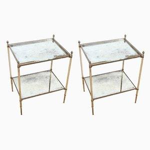 Französische Tische aus versilbertem Messing & Eglomise, 1960er, 2er Set