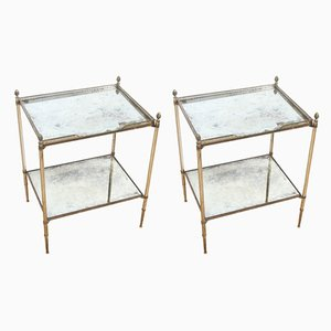 French Silver-Plated Brass and Eglomise Glass Tables, 1960s, Set of 2