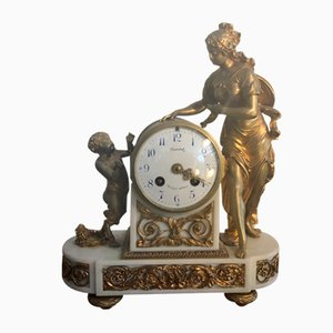 Alabaster & Bronze Biedermann Pendulum Clock, 1840