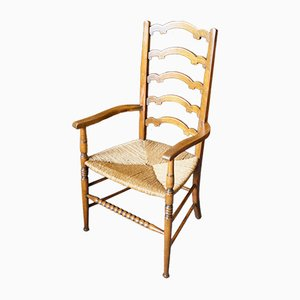 Arts & Crafts Solid Oak Ladderback Side Chair with Rush Seat