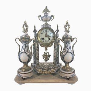 Biedermann Portaluhr aus Marmor & Messing mit Dekorativen Vasen, 3er Set