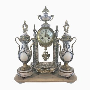 Marble & Brass Biedermann Portal Clock and Decorative Vases, Set of 3