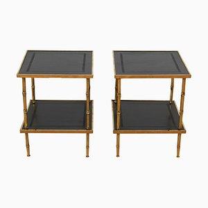 Französische Kunstbambus Tische aus Messing & Leder, 1960er, 2er Set