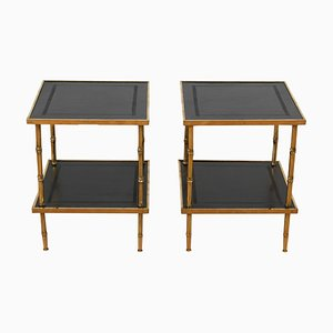 French Faux Bamboo Brass and Leather Tables, 1960s, Set of 2