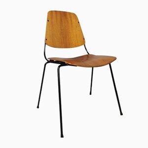Vintage Esszimmerstühle aus Schwarzem Metall & Schichtholz von Augusto Bozzi für Saporiti, 1960er, 6er Set