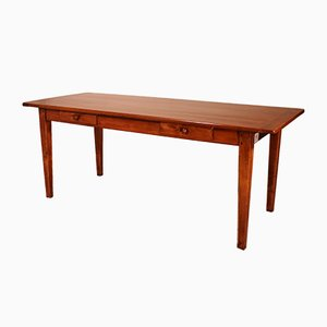 19th Century Refectory Table in Cherry Wood with 2 Drawers, France