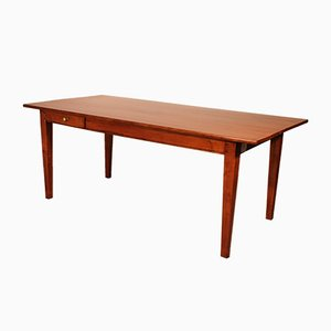 French Refectory Table in Cherry Wood with 2 Drawers, 19th Century