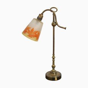 Französische Tischlampe mit Original Glas Lampenschirm, 1920er