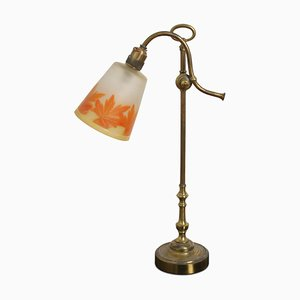 French Table Lamp with Original Glass Shade, 1920s