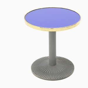 Coffee Table with Blue Glass and Brass Top, 1980s