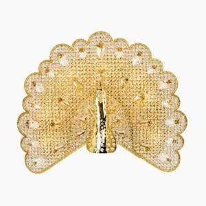 Crystal Glass Peacock Sconce by Palwa, Germany, 1960s