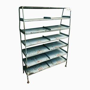 Vintage Shelving Unit or Rack in Gray Steel