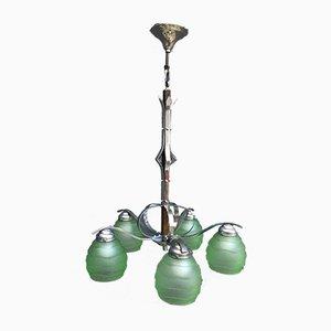 Art Deco Hängelampe mit 5 grünen Glasschirmen
