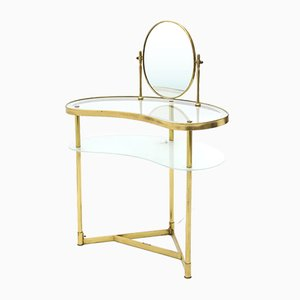 Vanity Table with Mirror in Brass and Glass from Lampadarte, 1950s