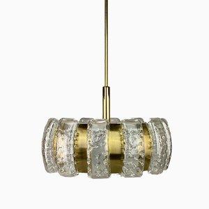 Brass and Glass Chandelier from Doria Leuchten, 1970s