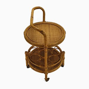 Vintage Rattan & Bamboo Serving Trolley with Casters, 1960s
