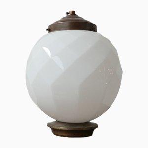 Lampe à Suspension Cubique Mid-Century en Opaline