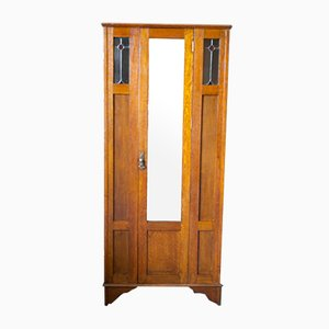 Antique Arts & Crafts Wardrobe in Solid Oak with Stained Glass Detail