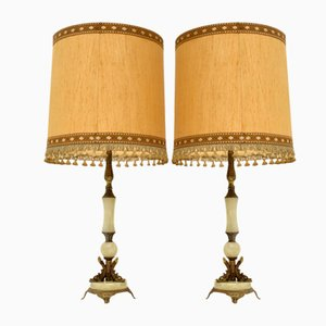 Vintage Onyx & Brass Table Lamps, Set of 2