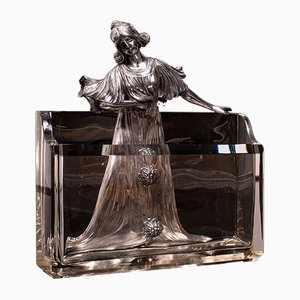 Antique German Art Nouveau Letter Holder or Desk Tidy in the Style of WMF