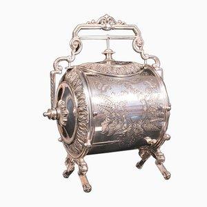 Antique Victorian Silver Plated & Engraved Biscuit Barrel or Decorative Jar, 1860s